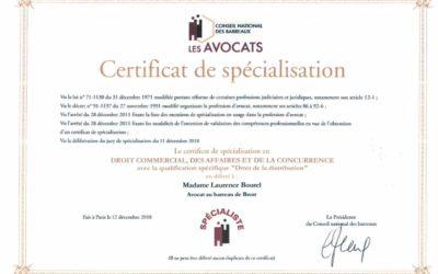 Obtention du certificat de spécialisation en droit commercial, des affaires et de la concurrence